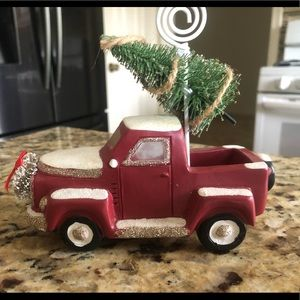 Vintage Style Christmas Red Truck , Photo Holder